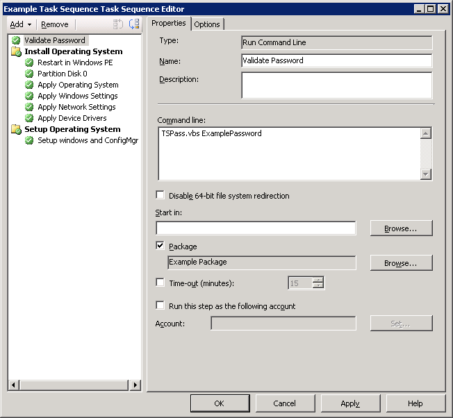 Task Sequence showing a Run Command Line step as the first step of the Task Sequence to perform password checking on a single PXE Booted task sequence.