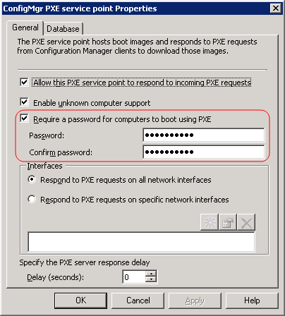 PXE Service Point properties page with Require a password for computers to boot using PXE checkbox called out.