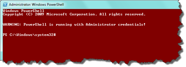 PowerShell runing with administrative credentials colored white on red with warning.