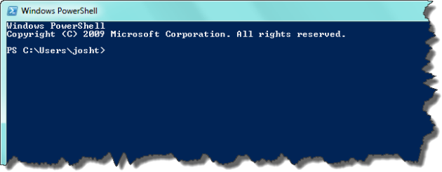 PowerShell runing with non-administrative credentials using standard console colors.